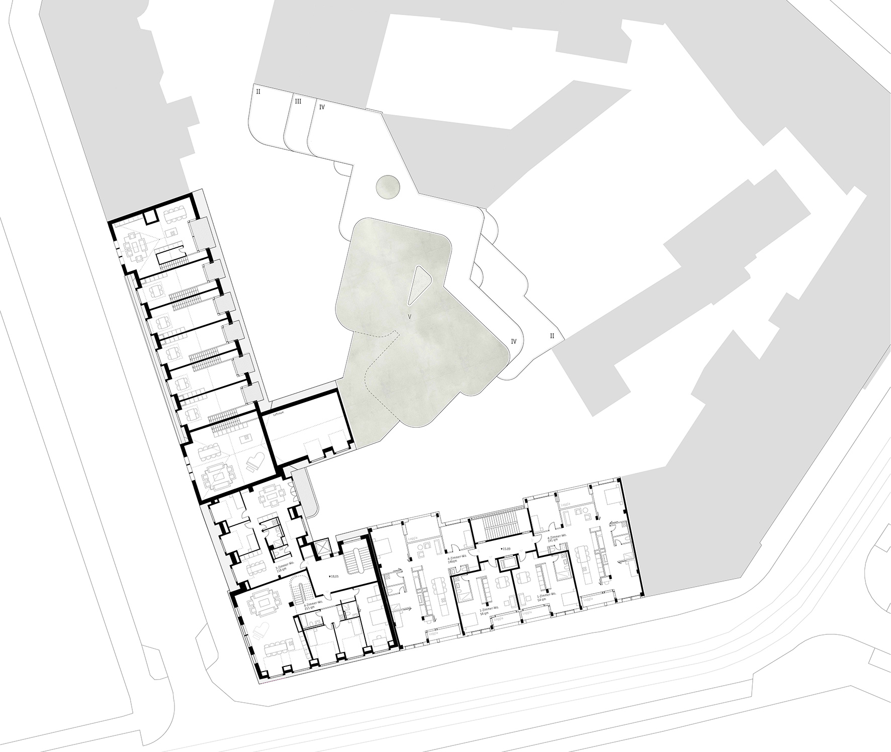 Stadthaus Lehel Hinterhofbebauung Wettbewerb Meili Peter dreisterneplus Fassadenentwurf
